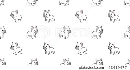 Dog seamless pattern french bulldog vector repeat 48419477