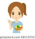 샐러드를 먹는 여성 상반신 02 48419703