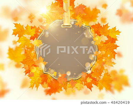 Autumn leaves background with red, orange, and yellow falling. EPS 10 48420419