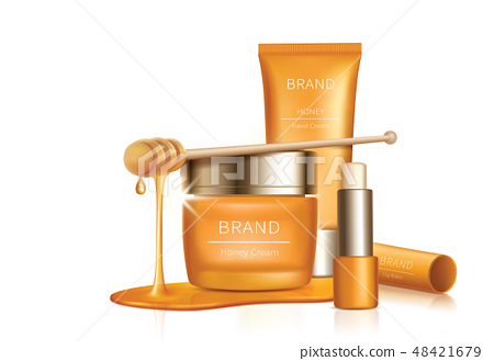 Cosmetic vector background with honey drips 48421679