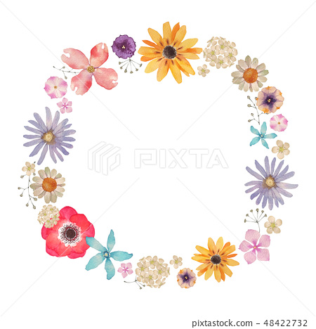春天的花朵夏天的花朵背景框架水彩插圖 48422732
