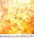 Autumn background with natural leaves and bright sunlight. EPS 10 48422784