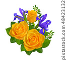 Composition with yellow rose and blue iris. 48423132