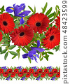 Seamless border with red gerbera and iris flowers 48423599