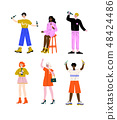 Drunk People Set, Young Women and Men Standing with Glasses and Bottles of Alcohol Drinks Vector 48424486