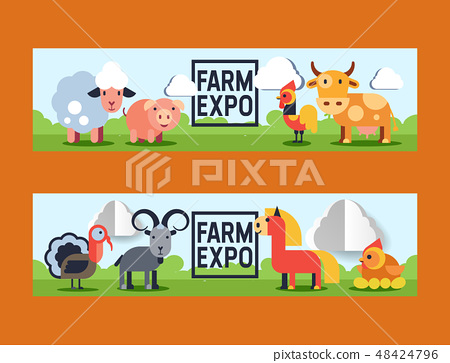 Farm animals vector domestic farming animalistic characters cow and sheep pig chicken farmer animals 48424796