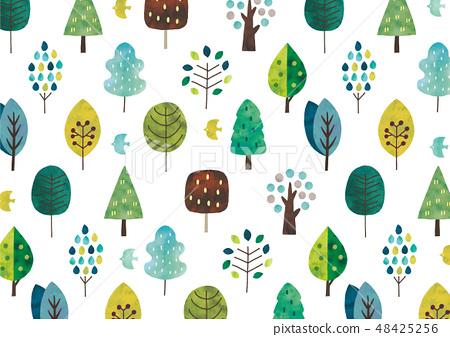 북유럽의 나무 수채화 텍스처 파랑 계 48425256