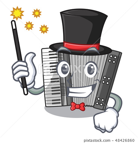 Magician accordion isolated with in the character 48426860