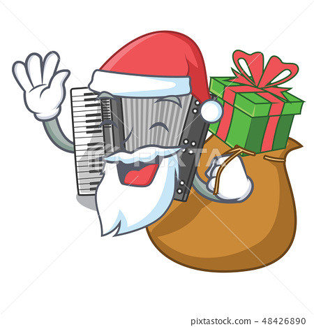 Santa with gift accordion isolated with in the character 48426890