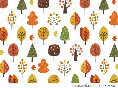 斯堪的納維亞樹水彩紋理秋天顏色 48430448