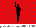 Silhouette Man Running on Red Ray Background 48431780
