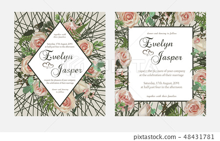 Set For Wedding Invitation Greeting Card Save Stock