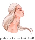 Portrait of pretty young woman in profile view 48431800