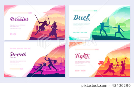 Martial arts of different Nations of the world. Traditional fights with weapon brochure card set 48436290