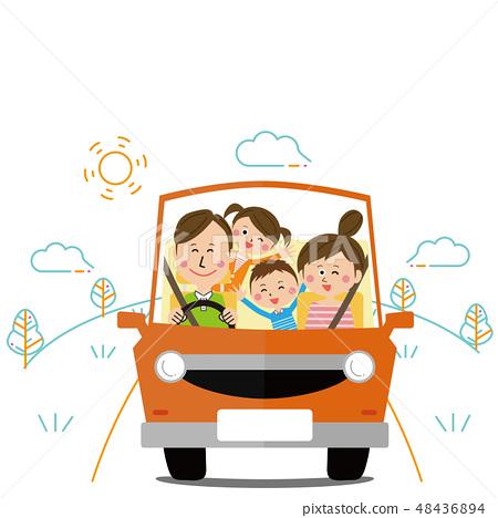 流行家庭開車天氣允許的一天 48436894