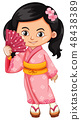 Asian girl wearing traditional Japanese dress 48438389
