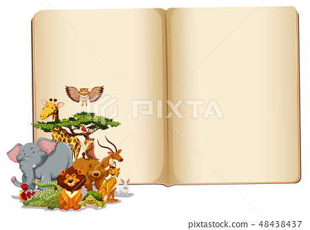 Set of animals with blank book 48438437
