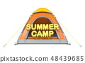 Orange tent with text SUMMER CAMP 3D 48439685