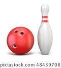 Ball and pin of bowling 3D 48439708