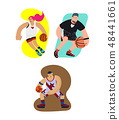 Cartoon basketball players set with dribbling motion and exaggeration 48441661