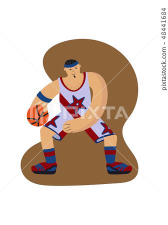 Cartoon basketball player before jumping vector illustration 48441684