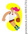 Cartoon basketball girl ball possesion try to rush 48441701