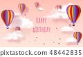 Happy Birthday - Greeting card. Hot air balloon 48442835