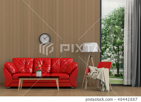 Interior living room and park landscape.  48442887