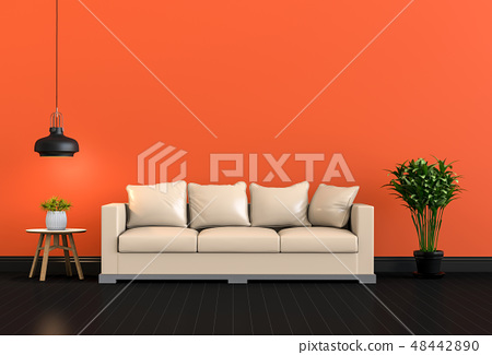 3D render of interior modern living color room 48442890