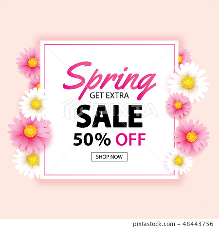 Spring sale banner with flower background template 48443756