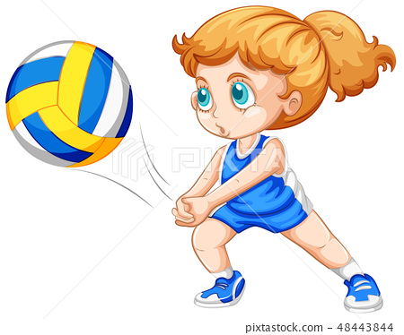 Young girl playing volleyball 48443844