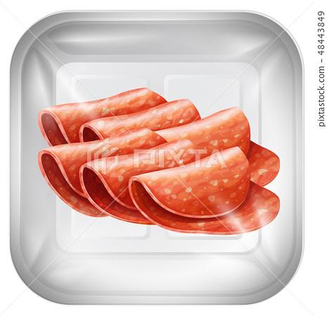 salami on plastic packaging 48443849