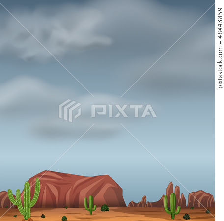Stormy desert background scene 48443859