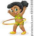 Happy girl playing Hula Hoop 48443868