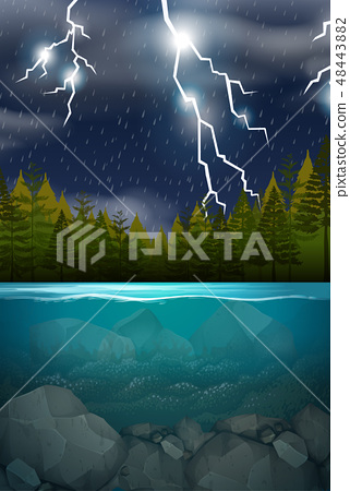 Lightning storm wood lake scene 48443882