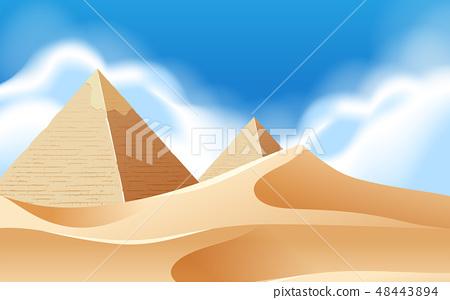 Pyramid desert background scene 48443894