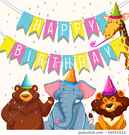 Animal on birthday party template 48443918