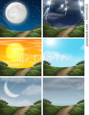 Set of different nature path scenes 48443920