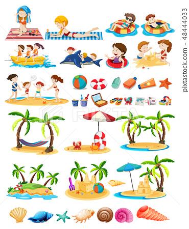 Set of beach theme 48444033