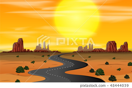 A wild west scene sunset 48444039