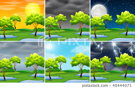 Set of nature landscape different weather 48444071