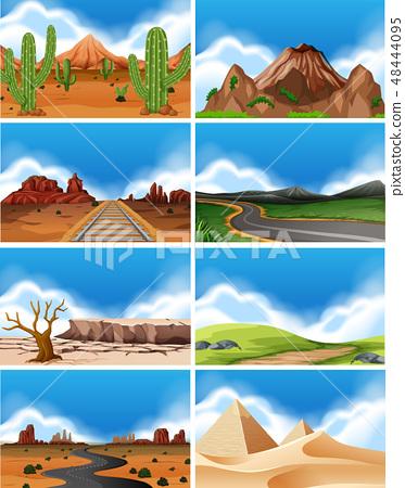 Set of nature landscape 48444095