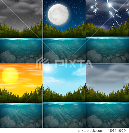 Set of different lake scenes 48444099