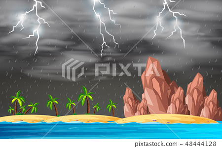 Stormy island background scene 48444128