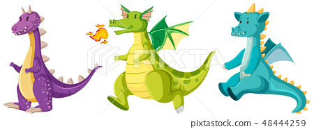 Set of cute dragons 48444259
