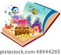 Open book underwater theme 48444265