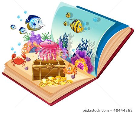 Open book underwater theme 48444265