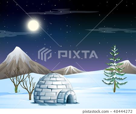 igloo in snow scene 48444272