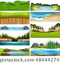 Set of nature landscape 48444274