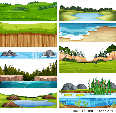 Set of nature landscape 48444274
